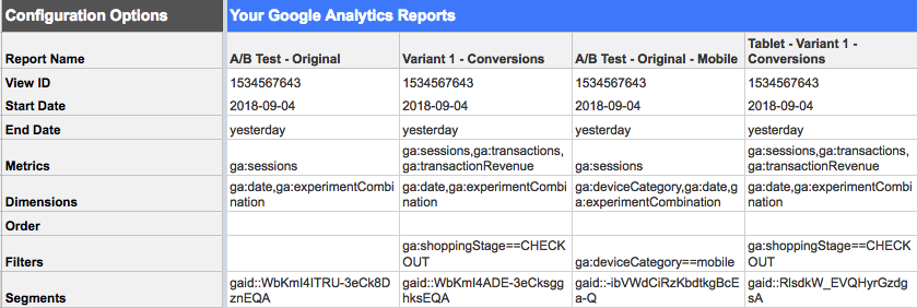 Example of Google Add-ons Report Configuration tab
