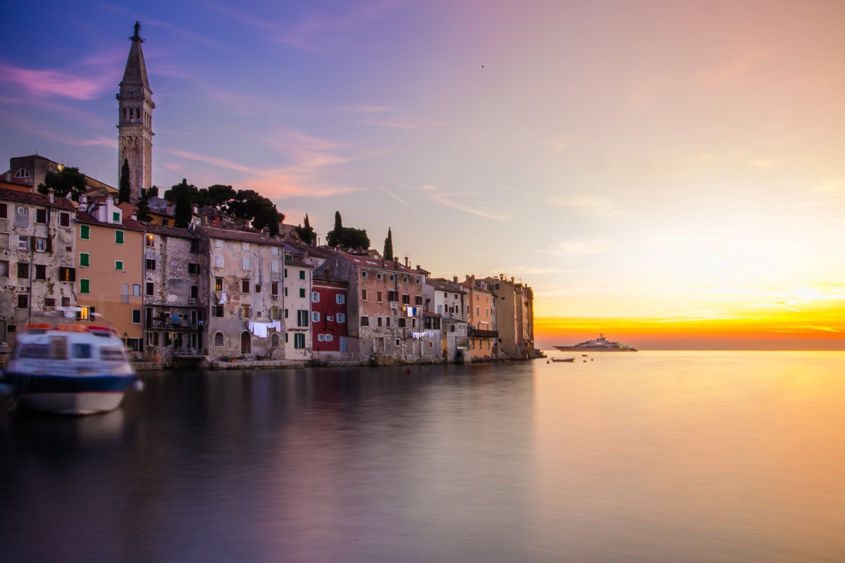 Sunset hitting the town of Roving, in the Istria peninsula of Croatia