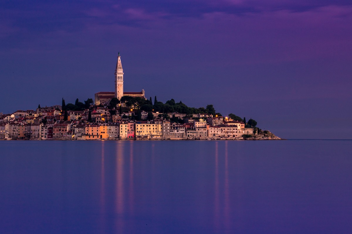 Blue hour and sunset around the town of Rovinj in the Istrian peninsula of Croatia