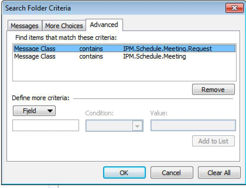 """Use Message Class to create a """"Meeting Requests"""" folder"""