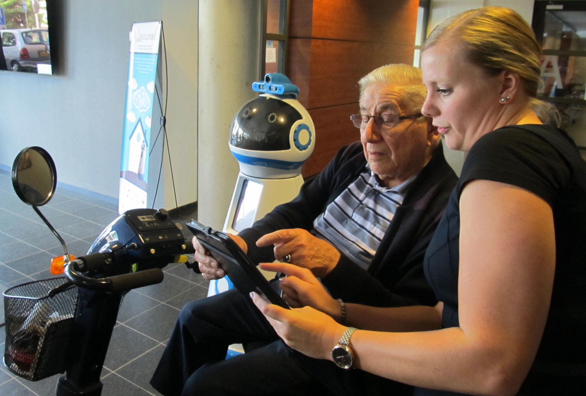 Humanoid robots under development can be programmed to detect changes in an elderly person's preferences and habits. Image credit: GrowMeUp