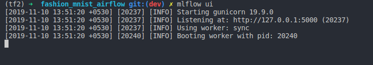 Fig 18 : Starting the mlflow ui from the command line