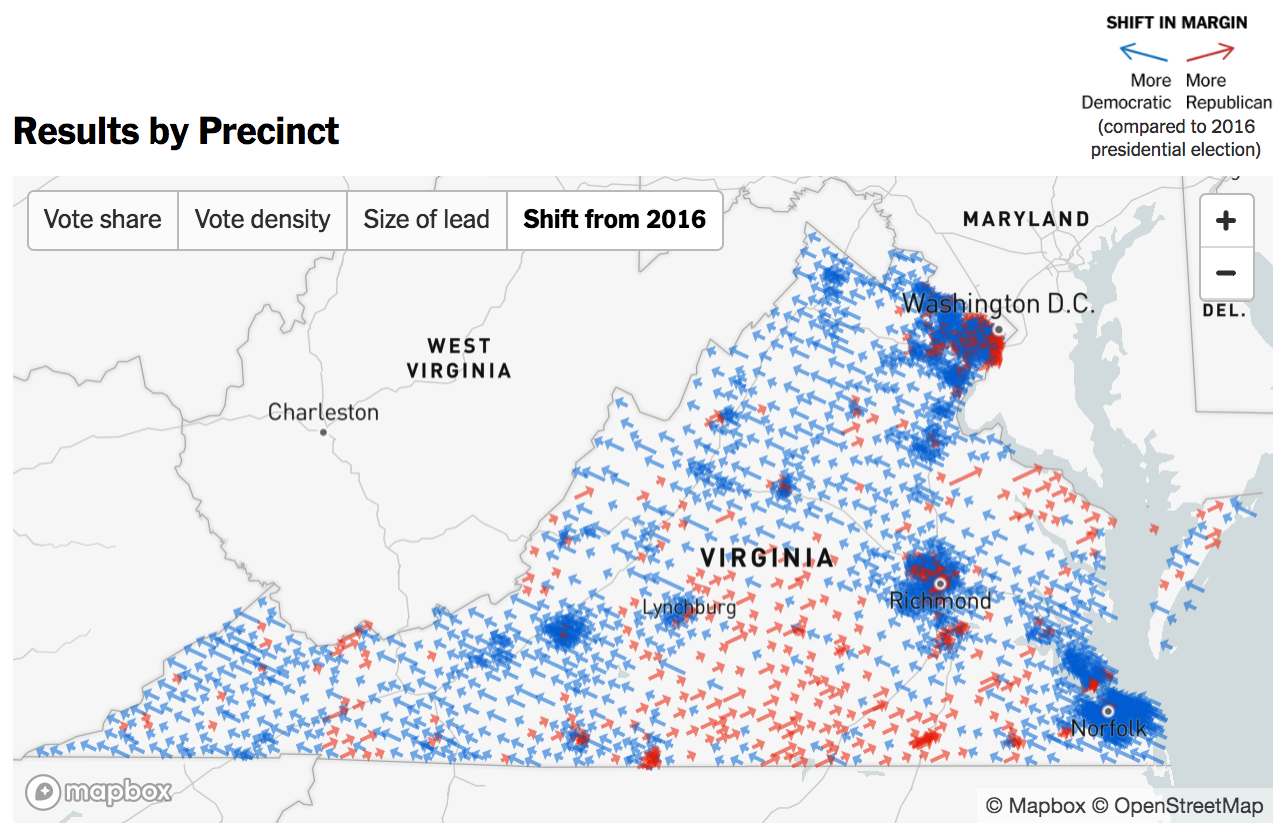 New York Times livemapping Virginia election Points of interest