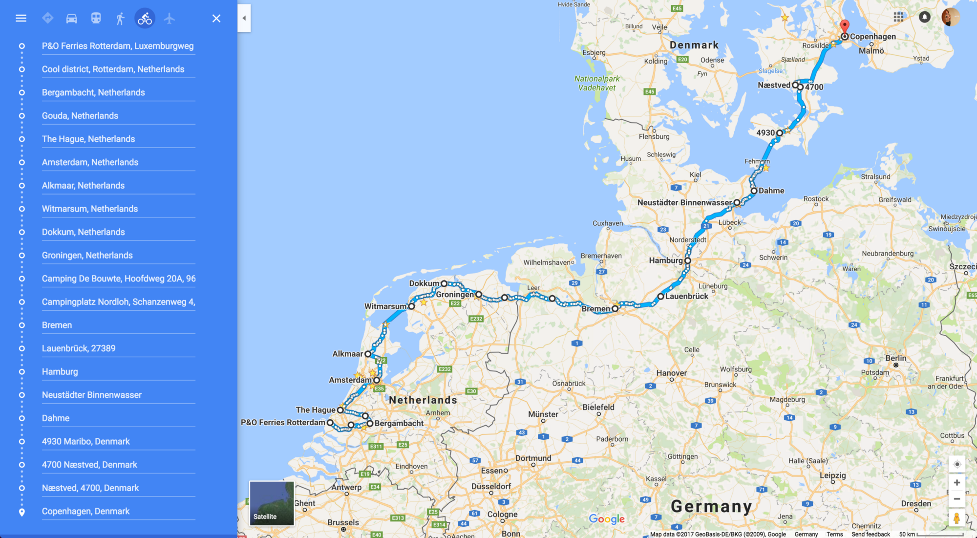 Bike touring and camping from Rotterdam Holland to Copenhagen