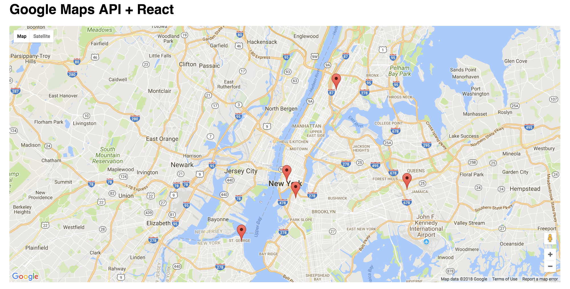 Simplified Google Maps JavaScript API in a React App