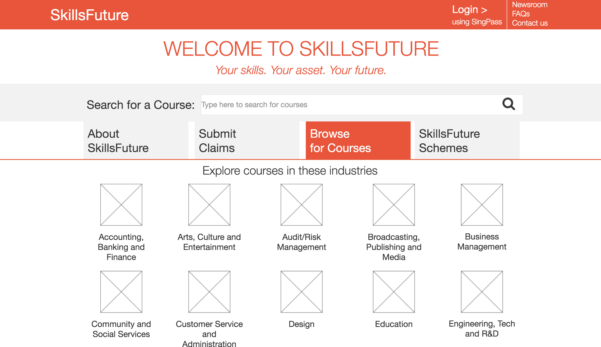 Skillsfuture m saleh osman new landing page with clear navigation to search or browse for courses and submitting claims pooptronica