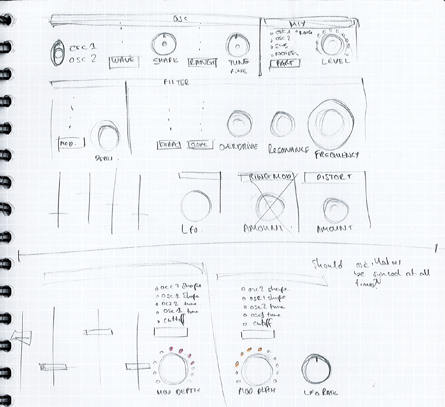 Circuit Mono Station Behind The Scenes Novation Notes Medium Usable If A Friend Wants Music Amplifier I Thinks This Sketches Of Top Panel From Alex Lucas Notebook