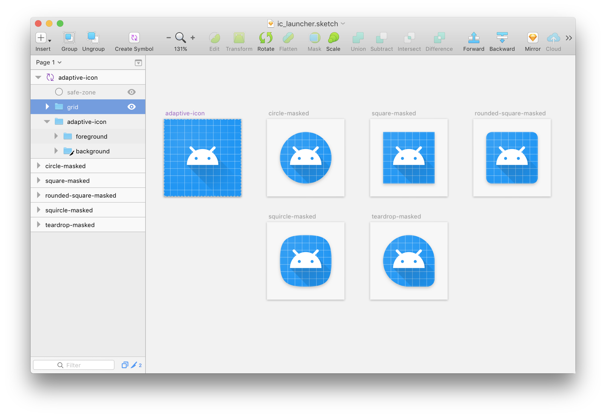 Designing adaptive icons google design medium its implemented as a symbol so changing the master element will update the copies giving you a preview with different masks applied biocorpaavc Images