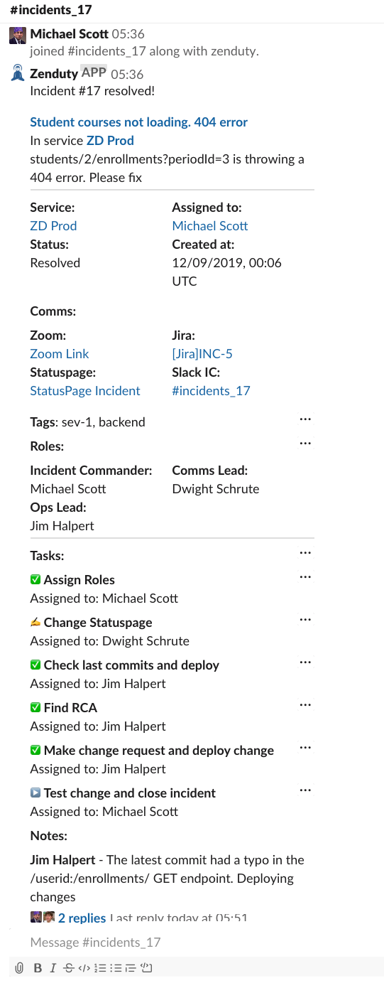 Zenduty - Slack Incident Command System integration