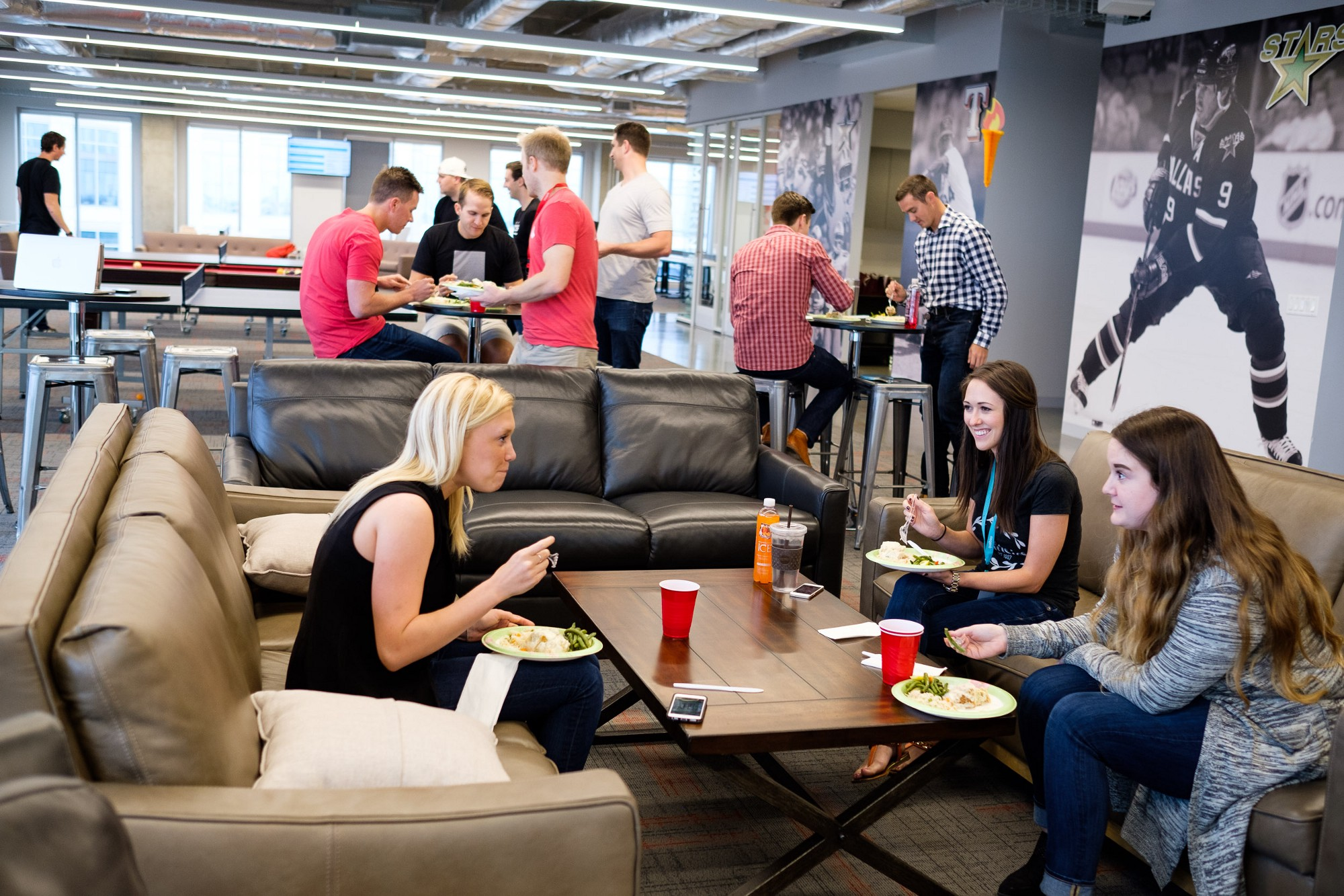 Lunch Is Catered Free Of Charge 3 Days Per Week Typically The Team Gathers In Lounge Area