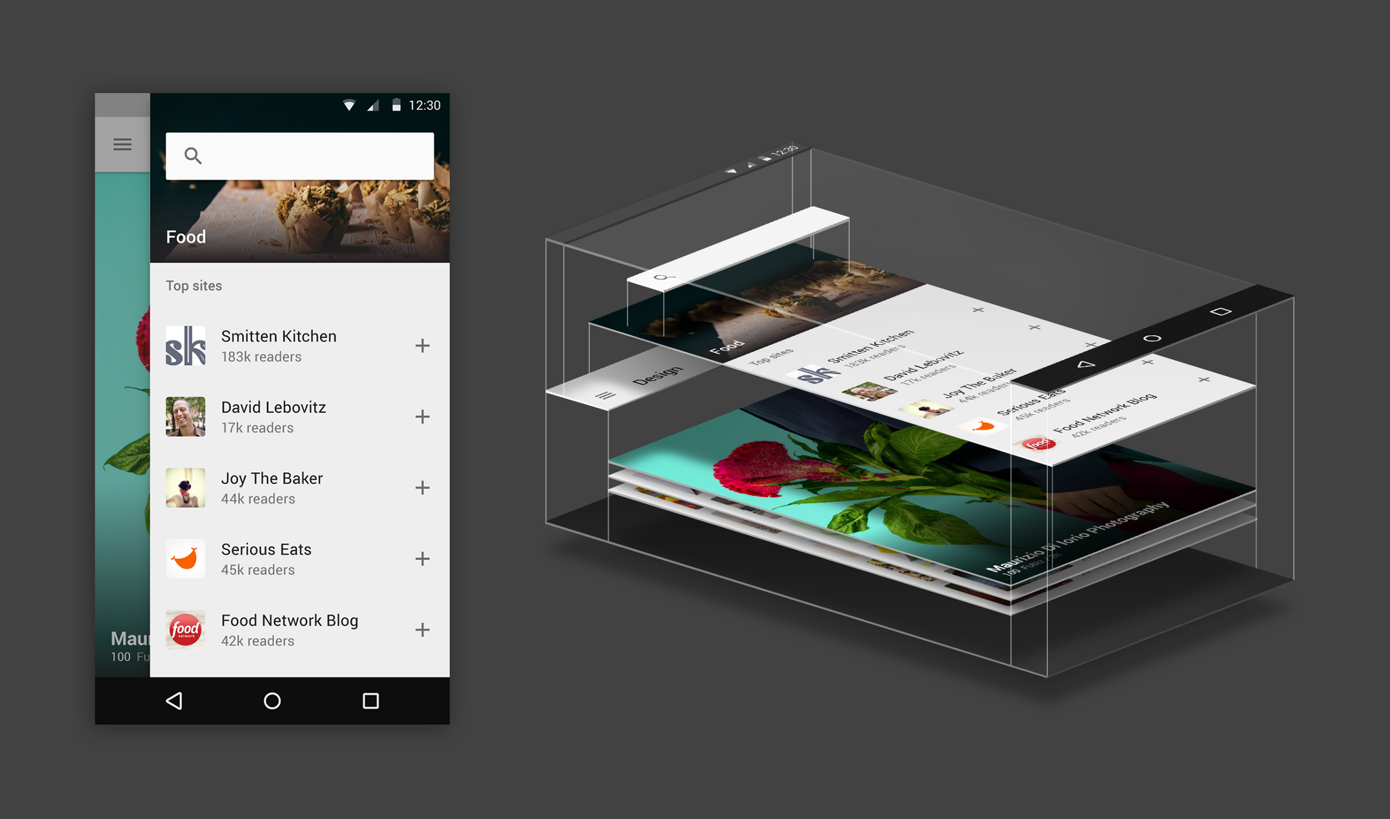 An exploration in material design by feedly coming up in for Material design space