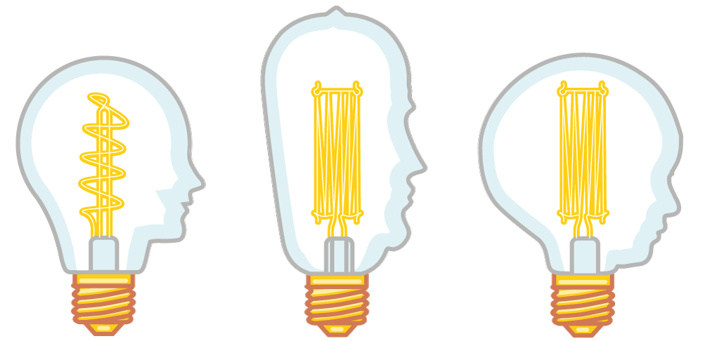 An illustration of three Eddison Lightbulbs with faces