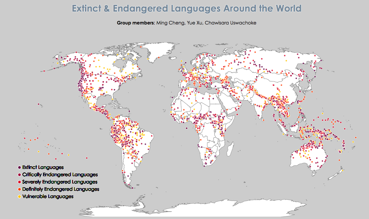 Data visualization for extinct and endangered language world map data visualization of extinct and endangered language gumiabroncs Image collections