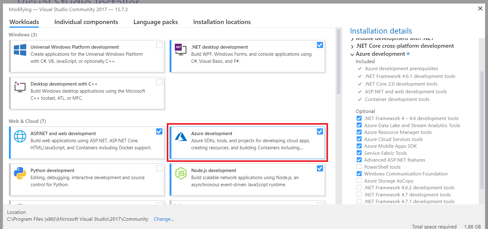 Build and manage your azure arm templates in visual studio if you already have visual studio and you did not select this section you can do it by going to windows addremove programs and modify your visual studio maxwellsz