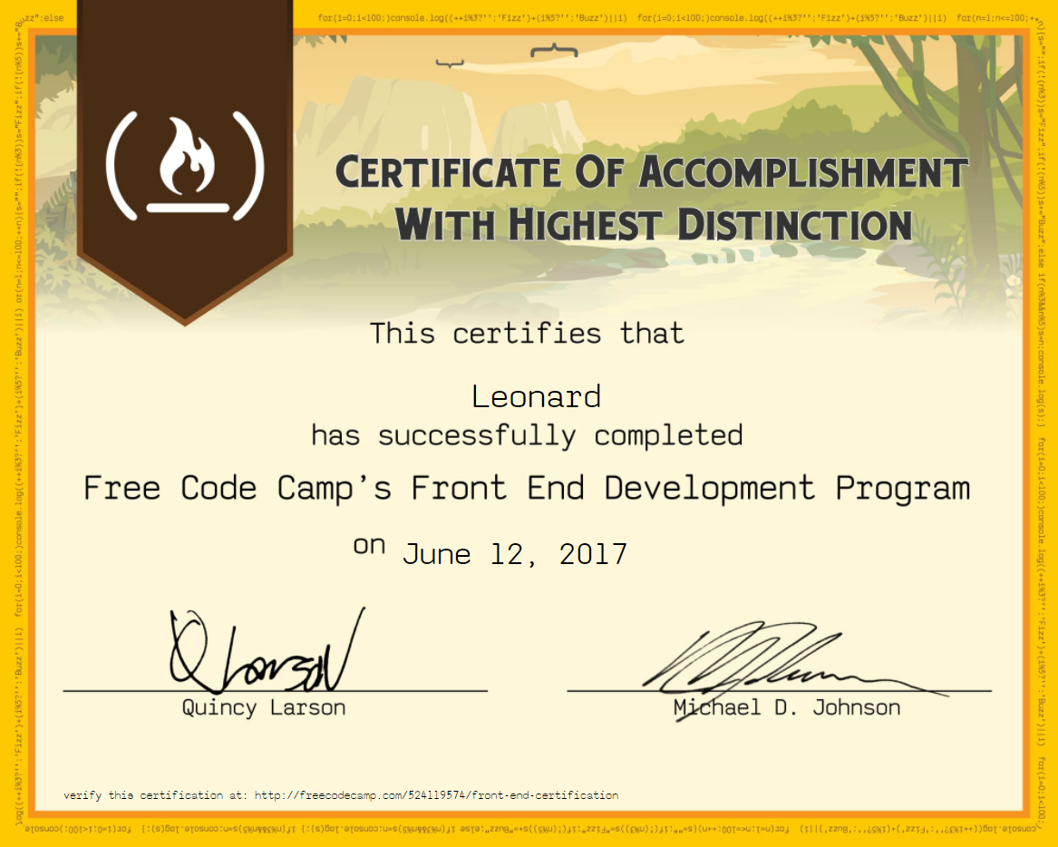 @leofis received his Front End Dev Cert