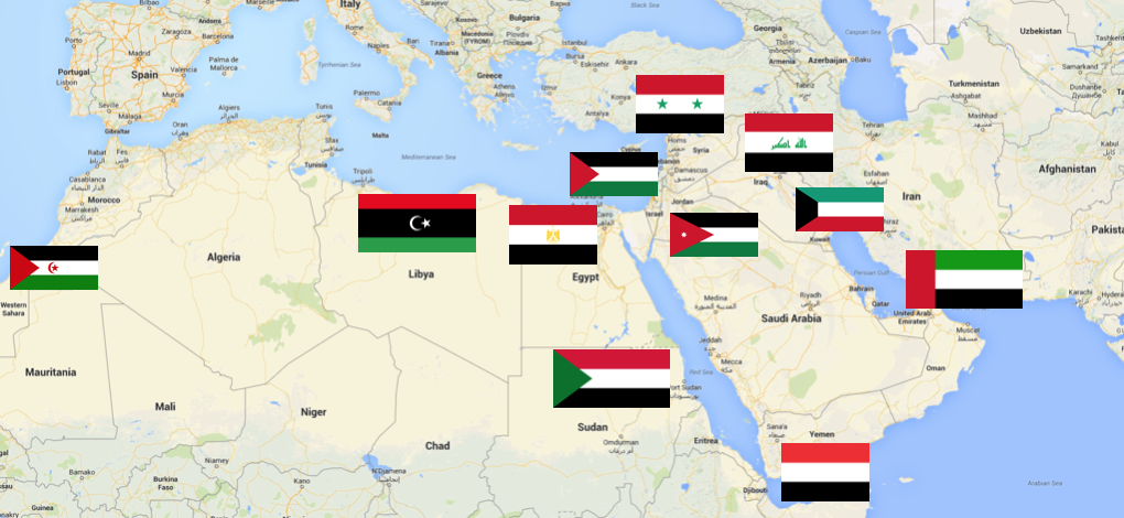 Outlawed flags branding the nations medium syria iraq kuwait the uae yemen jordan sudan egypt libya disputed western sahara and of course disputed palestine all sport pan arab colors gumiabroncs Choice Image