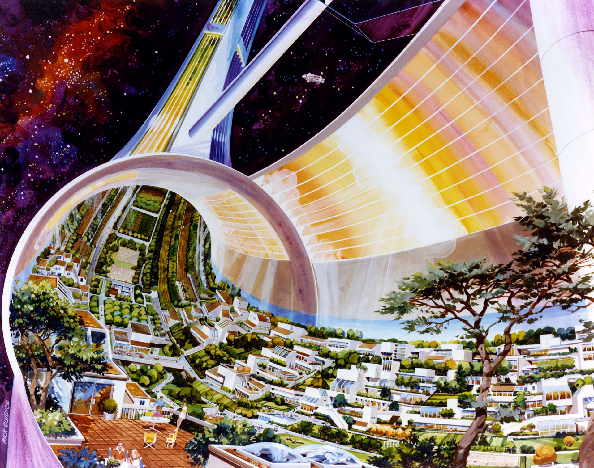 Artistic rendering of 1970s space colony concept  NASA Ames Research Center/Rick Guidice