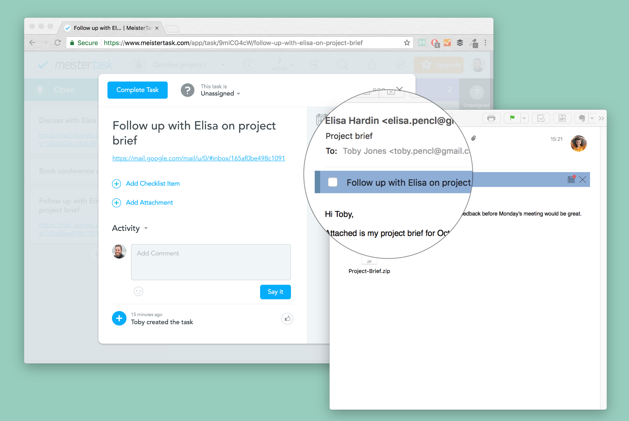 Attach tasks and reminders to your emails and sync them with meistertask