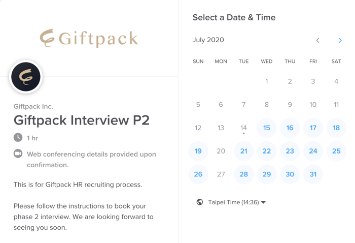 Making an online interview appointment by Calendly