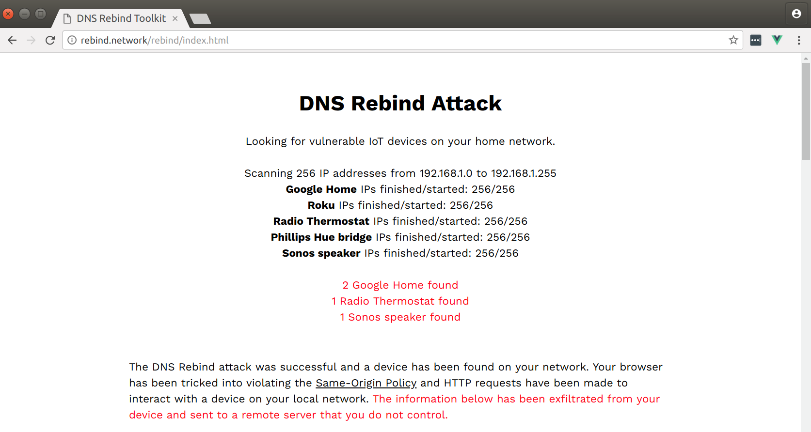 Attacking Private Networks from the Internet with DNS Rebinding by
