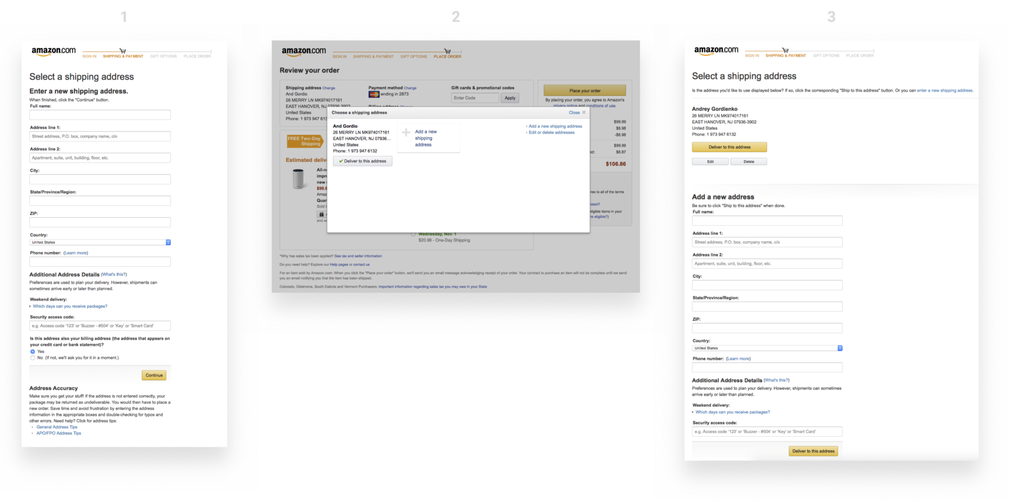 Amazon Checkout Redesign Exercise — Part III: Shipping and Payment