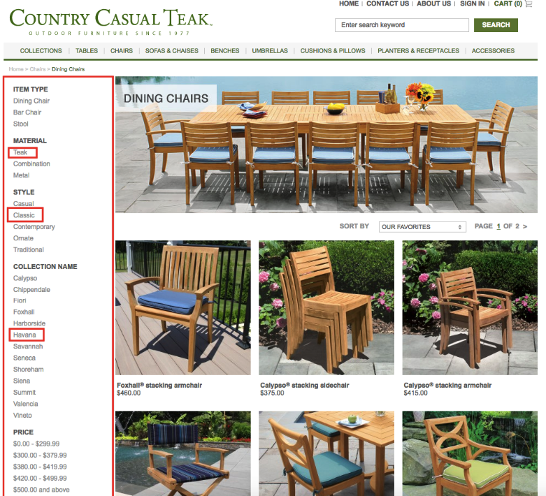 Country Casual Teak Magento eCommerce store