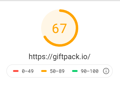 Google PageSpeed Insights Performance Score on https://giftpack.io (before vs after)