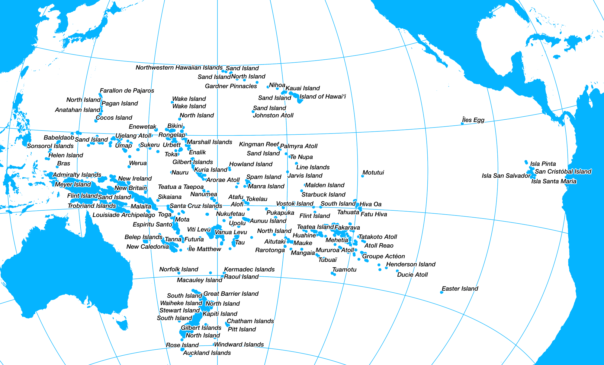 Cartographic ethics oceania the truncated continent note that in this projection distances from the center are preserved but tangential distances on the fringes eg between galapagos easter island are gumiabroncs Image collections
