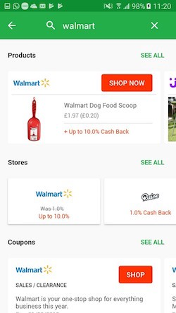 Search results when searching for Walmart (Ebates Android version)