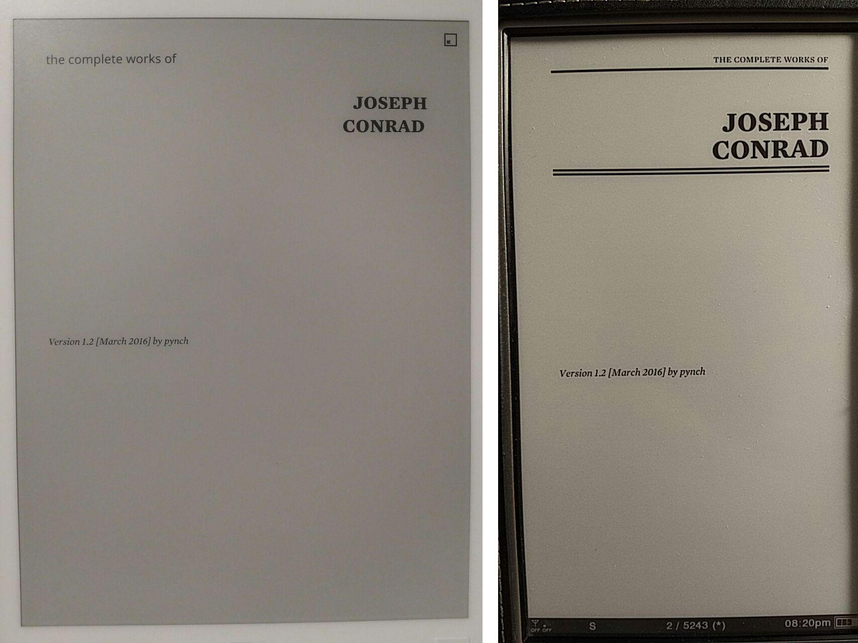 Nothing remarkable about the remarkable paper tablet a disastrous the second page of the test file on remarkable left and sony daily edition right fandeluxe Choice Image