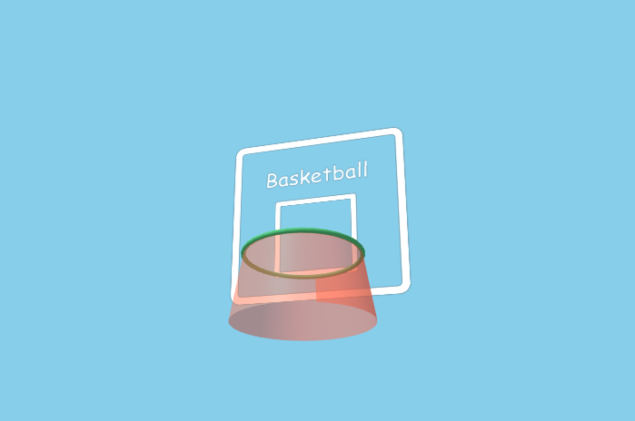 The basketball hoop created by the code earlier