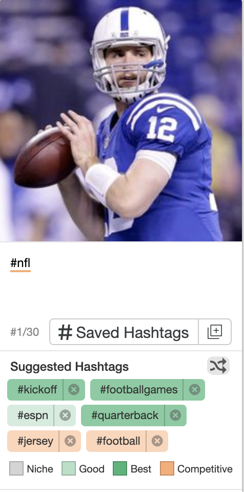 The different colors for the suggested hashtags help the user identify the relevance of each suggested tag.