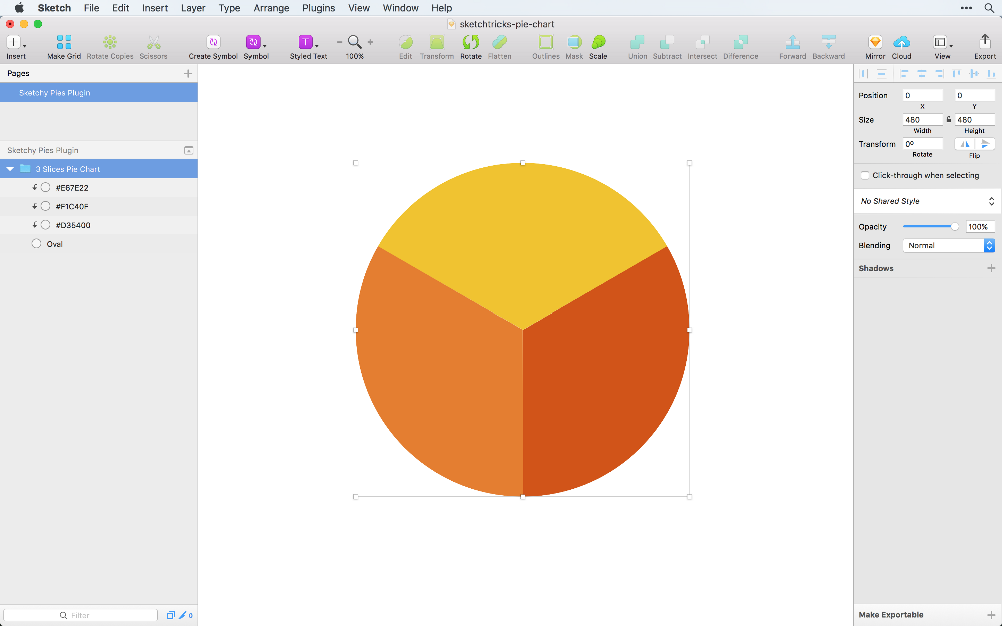 Creating a pie chart in sketch the right way sketch tricks medium enter the color values and hit enter to create a pie chart in my example ive made a pie chart with three slices the colors ive used are d35400 nvjuhfo Images