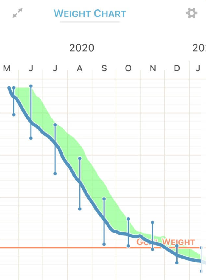 Weight logs from 2020–2021 (Starting weight: 154 lbs; Current weight: 124 lbs)