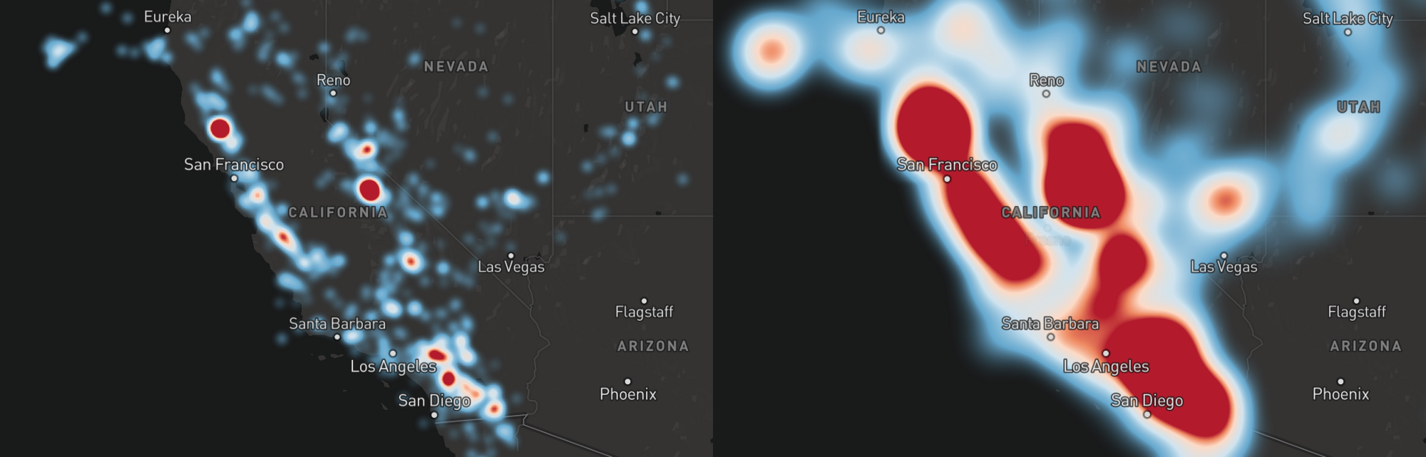 Introducing heatmaps in mapbox gl js points of interest adjusting heatmap radius 5 left 40 right gumiabroncs Image collections