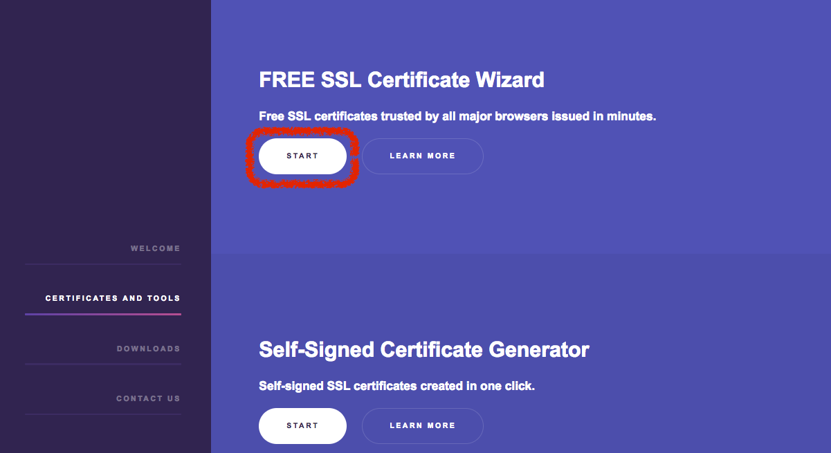 Free ssl certs george medium so the first step of wizard is to type your domain name in the up right input accept both terms if you agree them then click next xflitez Choice Image