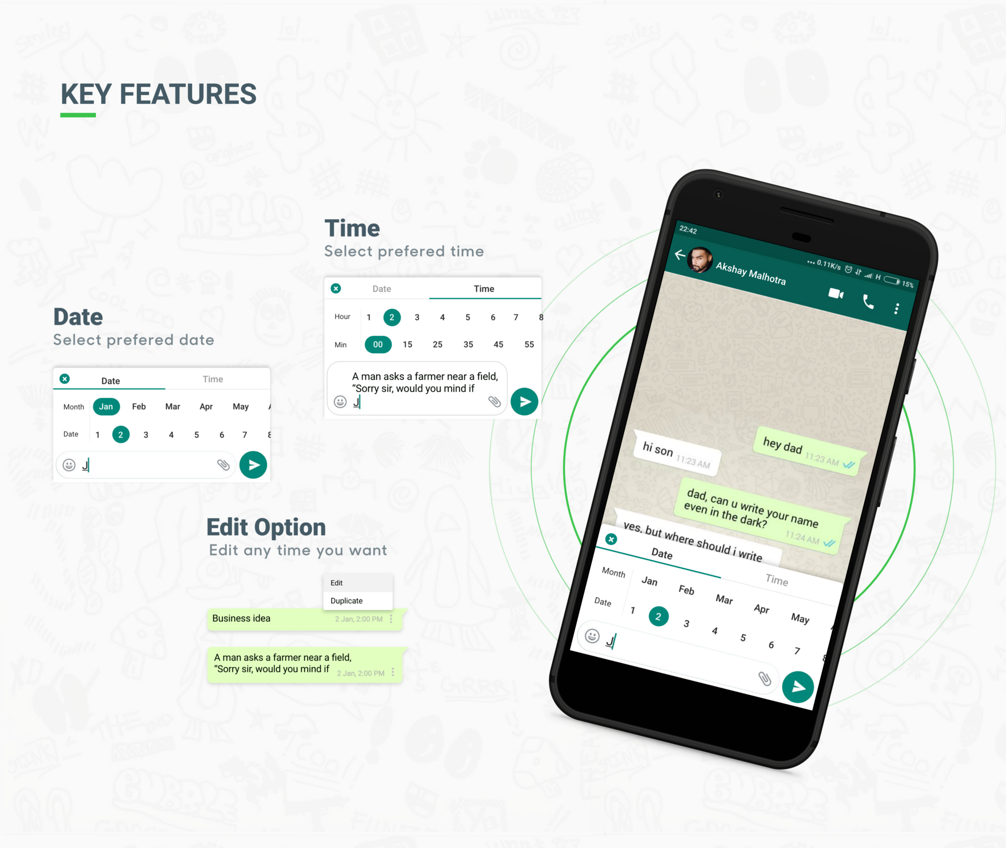 key features of whatsapp business message scheduler concept