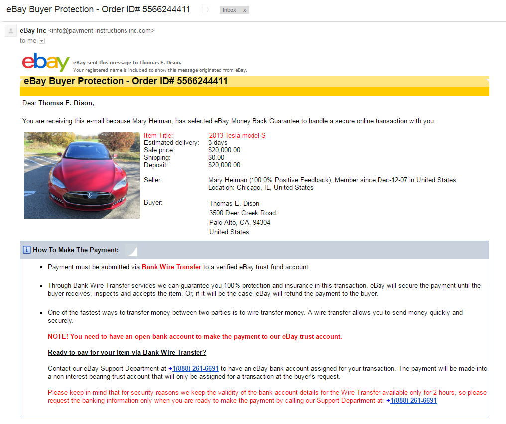 Tesla Scam On Craigslist A How To Guide Peder Halseide Medium Chicago Battery Charger Wiring Schematic And Then An Official Email From Ebay Payment Instructions Inccom Which Shows Up This List Good Know She Has 1000 Positive Feedback