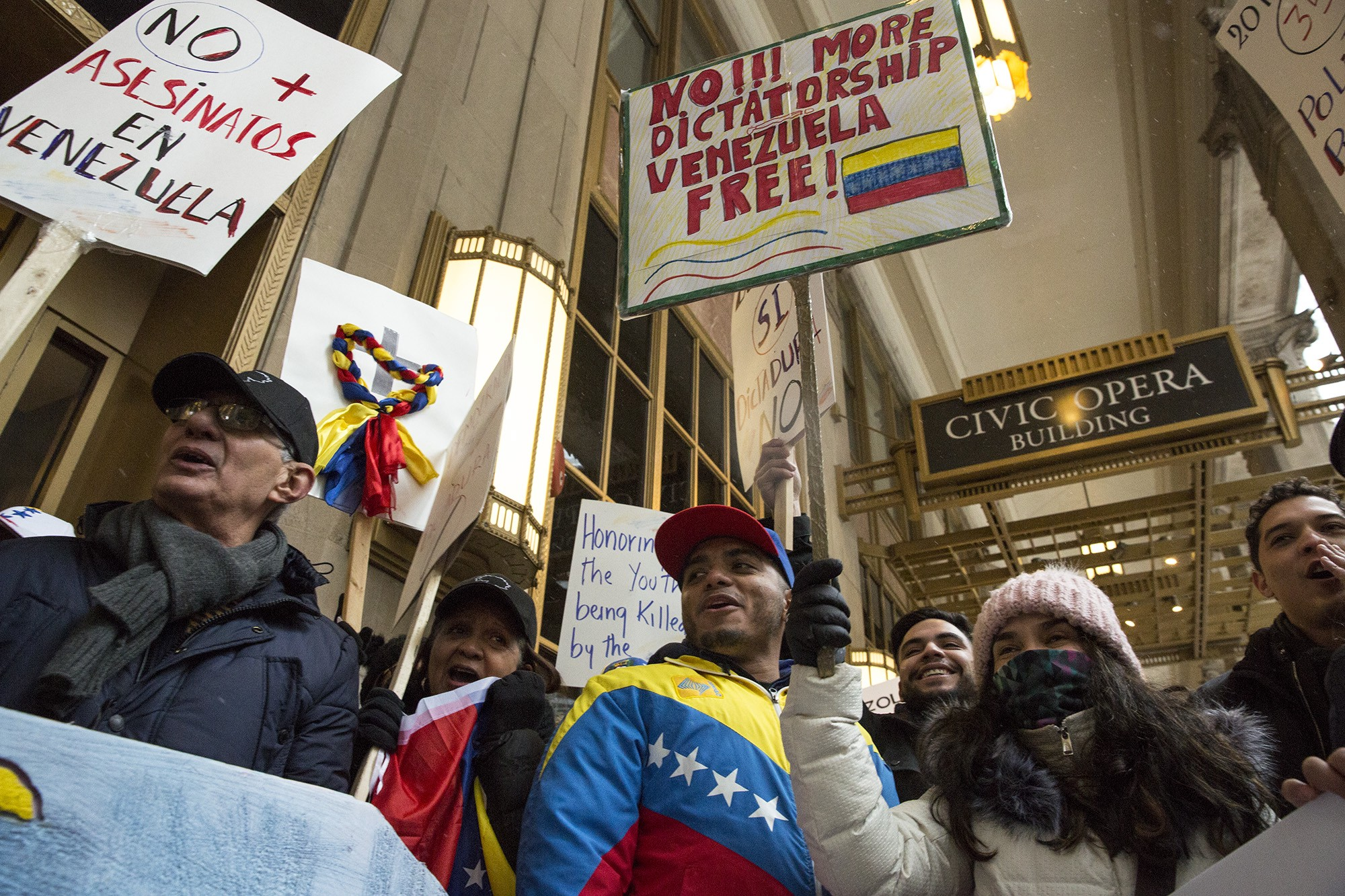 Demonstrators Brought Flags And Handmade Signs To Yesterdays Rally Outside Of The The Consulate General Of Venezuela In Downtown Chicago To Show Their
