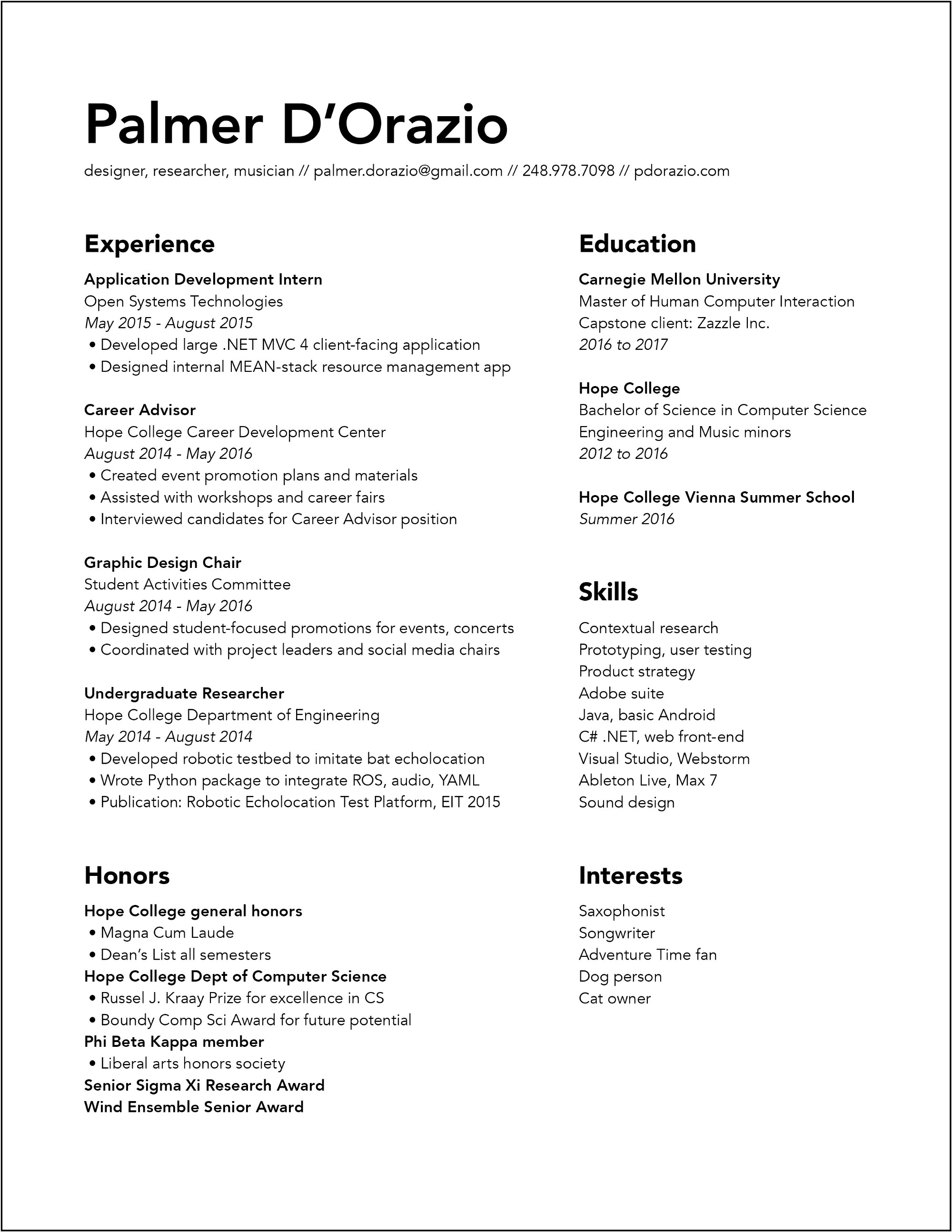 Resume Palmfolio Click The Image For A Pdf Version Here To Download