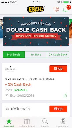 Hot deals (Ebates)