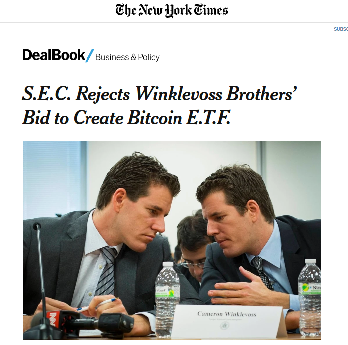 NYT article on the rejected ETH