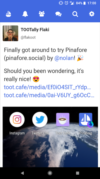 A [toot](https://toot.cafe/@flakoot/100226502630578333) about pinafore.social, viewed at pinafore.social :)