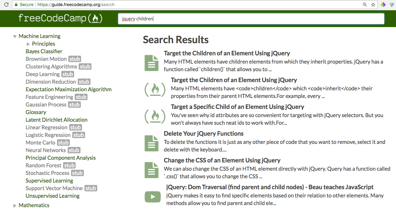 A search for jquery children reveals articles coding challenges and videos explaining the concept