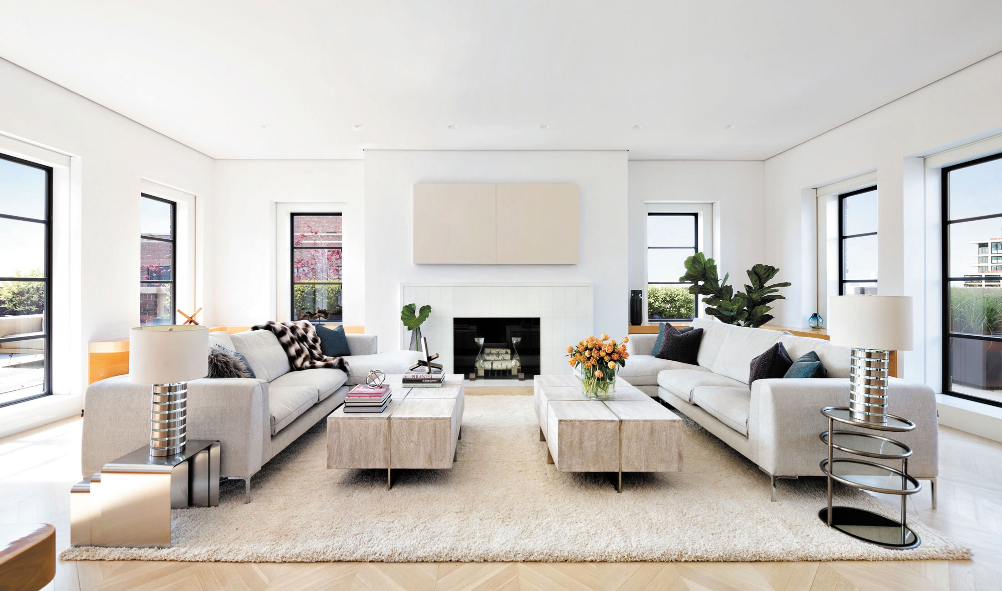 What could be more extravagant than a manhattan penthouse for Living room with 10 foot ceiling