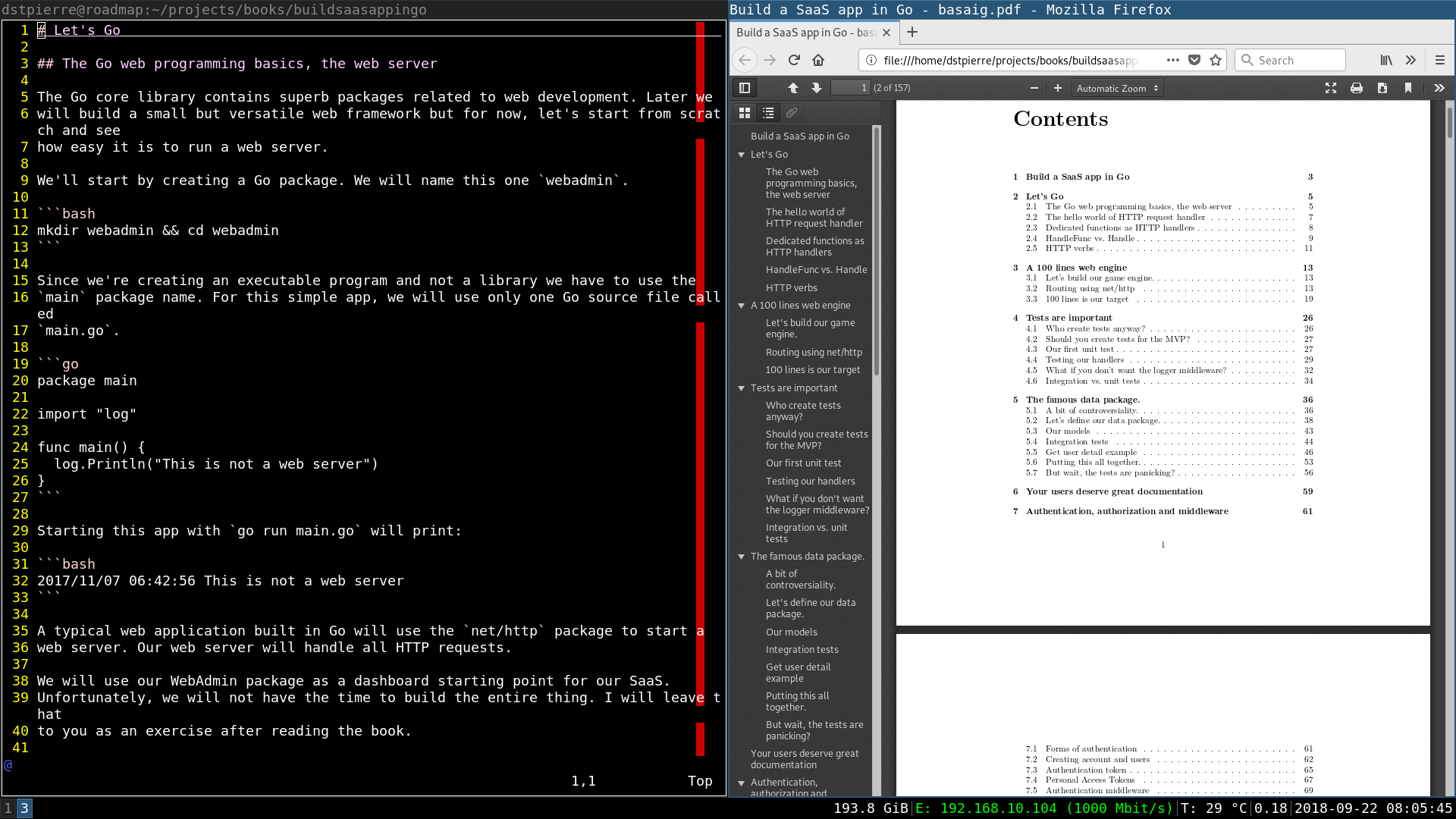 Showing a sample markdown file and the table of contents from the PDF.
