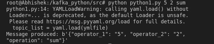 Fig 7.2: python1 program executed with the sum operator