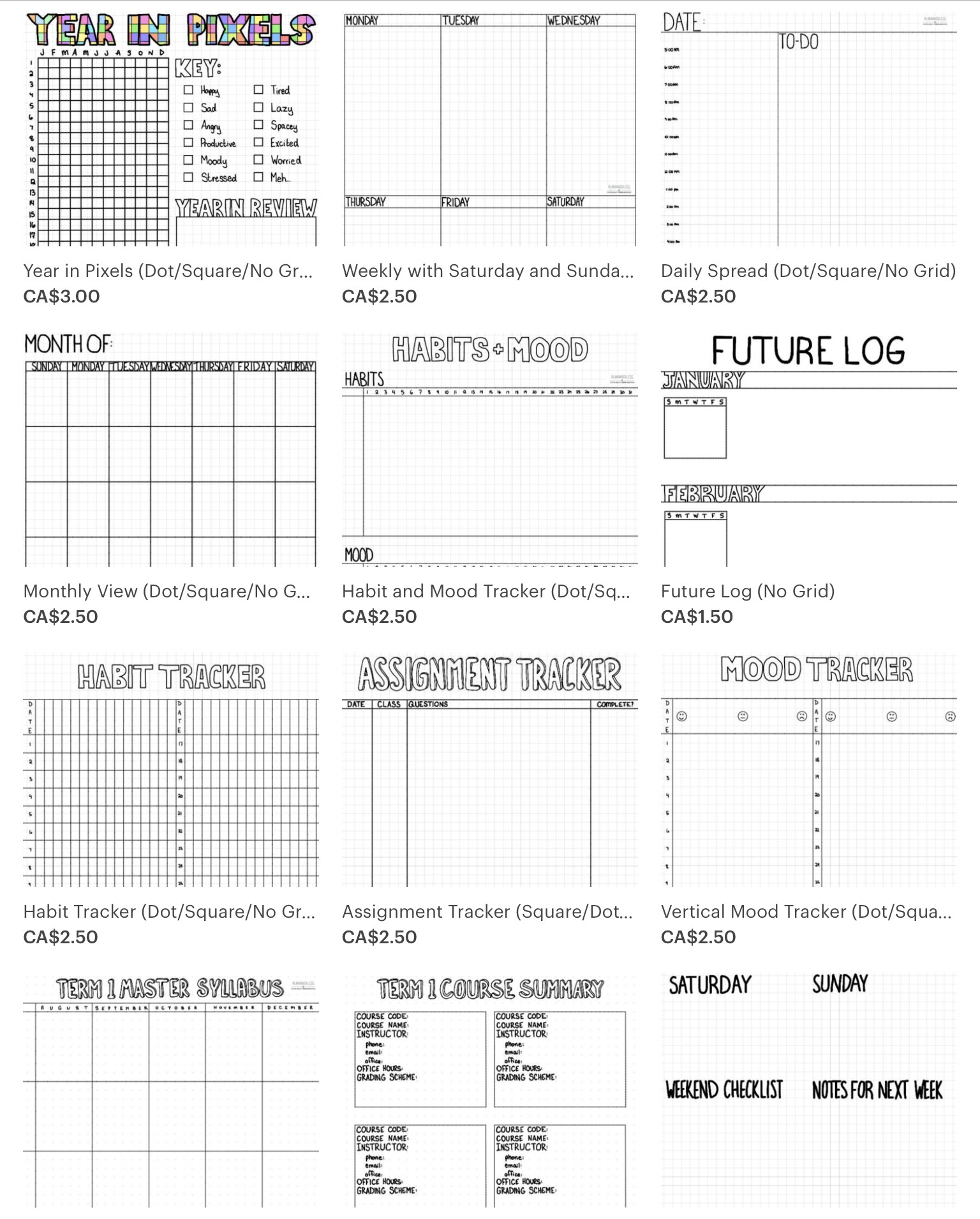 Handmade And Fully Customizable Bullet Journal Templates