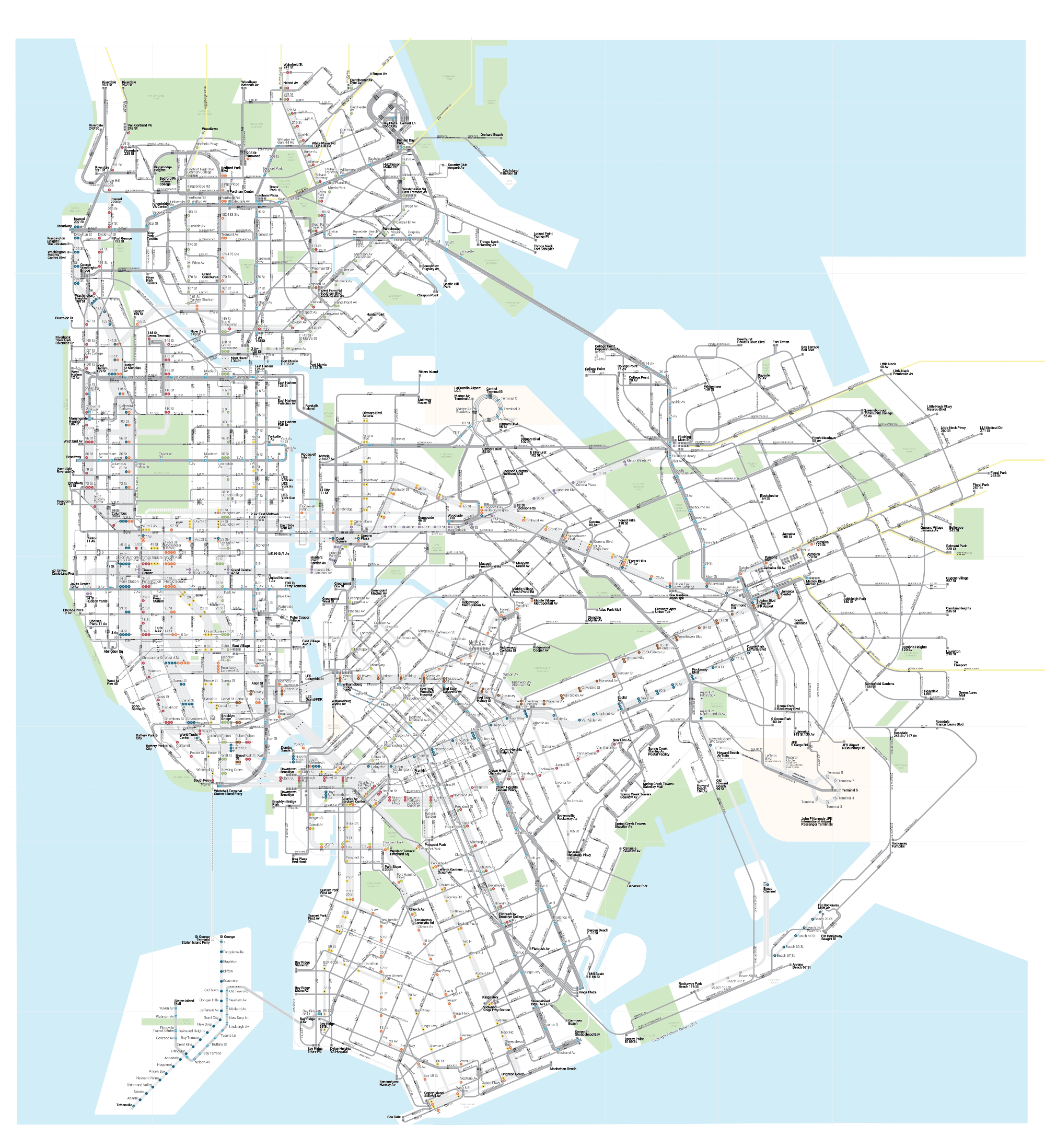 Nyc Subway Map Over Street Map.New York City Subways And Buses All On A Single Map Streetsblog
