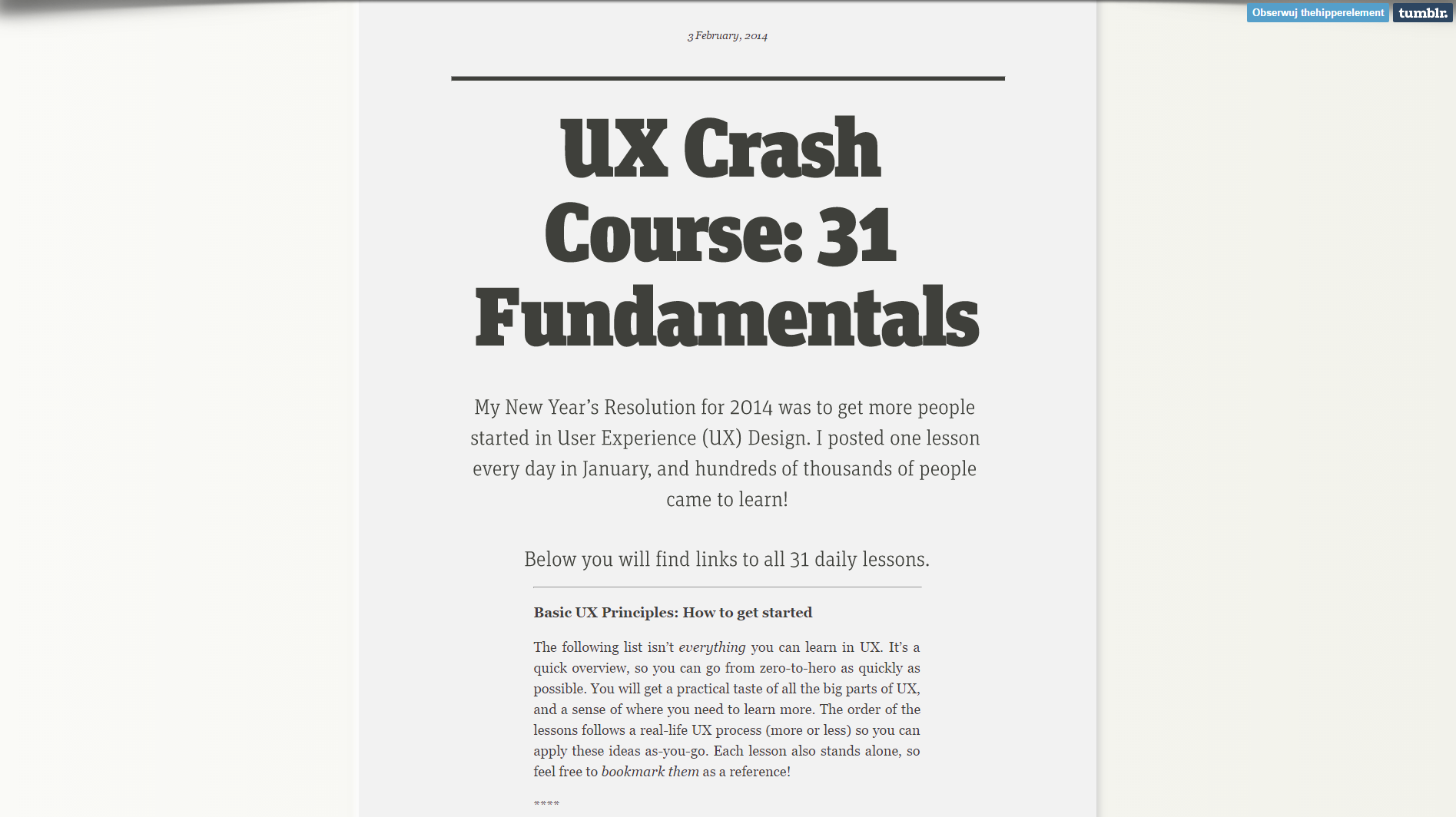UX Crush Course Screenshot